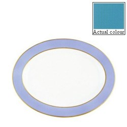 Sous le Soleil Oval platter, 36cm, turquoise with classic matt gold band
