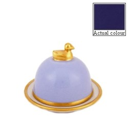 Sous le Soleil Duck butter dish, small, cobalt blue with classic matt gold band