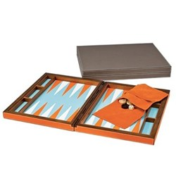 Backgammon set, 44 x 70cm (open), orange/light blue