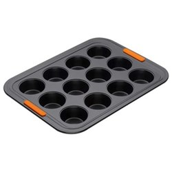 Bakeware 12 cup mini muffin tray, 24.5 x 18.5cm, black