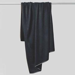 Daya Contrast edge knitted throw, 180 x 120cm, indigo