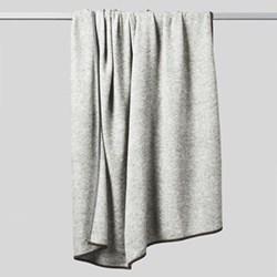 Daya Contrast edge knitted throw, 180 x 120cm, soft grey