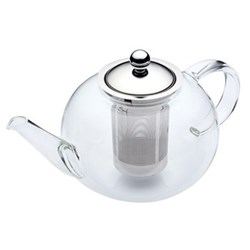 Le'Xpress Double walled infuser teapot, 8 cup / 1.4 litre, glass and stainless steel