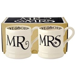 Black Toast - Mr & Mrs Pair of mugs, 1/2 pint