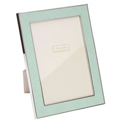 """Faux Shagreen Photograph frame, 5 x 7"""" with 24mm border, sea with silver plate"""