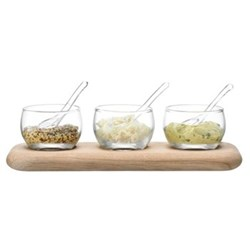 Serve Condiment set and oak base, L25.5cm, clear