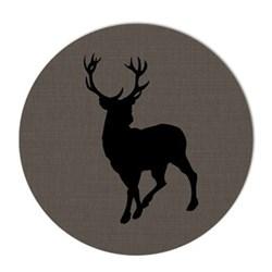 Acrylic - Reindeer Set of 4 round tablemats, 25cm, grey linen