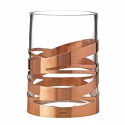 Tangle Vase, H16.5 x W12cm, glass/copper coated stainless steel