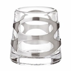 Embrace Pair of tealight holders, satin stainless steel/glass