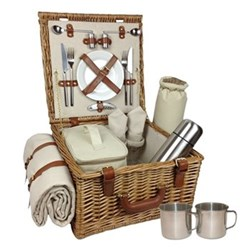 Deluxe Picnic hamper - 2 person, 38 x 38 x 21cm, willow wicker