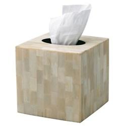 Bone Tissue box cover, 15 x 15cm, natural