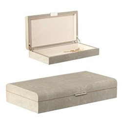 Faux Shagreen Large heirloom box, L35 x W19 x H7cm, taupe
