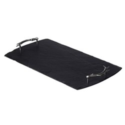 Antler Handles Serving tray, 50 x 25cm, slate and stainless steel