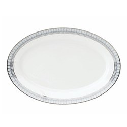 Arcades Oval platter, 40cm, grey and platinum