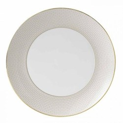 Arris Dinner plate, 28cm, white with gold band