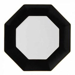 Arris Octagonal charger plate, 33cm, charcoal with gold band