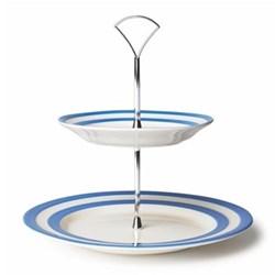 Cake plate 2 tier, 25.4/17.8cm, blue