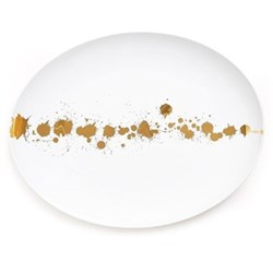 1948° Oval plate, gold/white