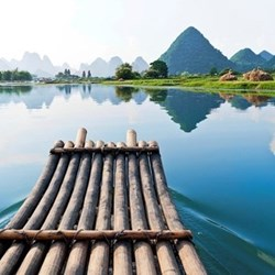 Bamboo rafting for two