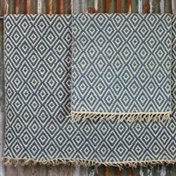 Jambo Rug, 120 x 180cm, blue jute