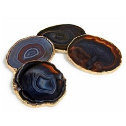 Lumino Set of 4 coasters, approx. D10cm, midnight and gold