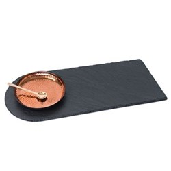 Serving tray, 42 x 18cm, copper and slate