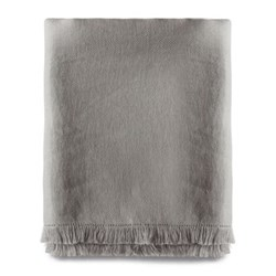 Fringed throw, 140 x 225cm, pale grey linen