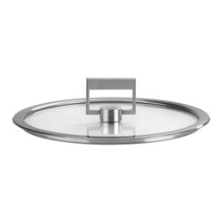 Strate Flat glass lid, 16cm, brushed stainless steel