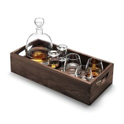 Whisky Islay connoisseur set and walnut tray, L44cm, clear