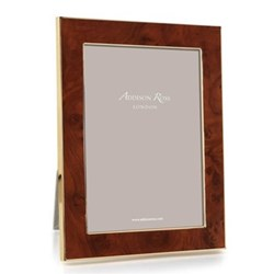 """Toscana - Amber Photograph frame, 5 x 7"""", enamelled walnut burl with gold plate"""
