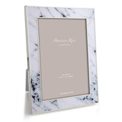 "Marble Photograph frame, 5 x 7"", white with silver plate"
