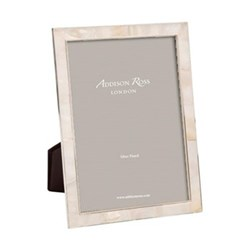 "Mother of Pearl Photograph frame, 5 x 7"", silver/cream"