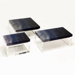 Acrylic - Crocodile Trinket box, L14.5 x W8 x H6.5cm, saphire