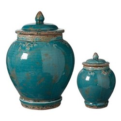 Zion Lidded Set of 2 Urns, large H32 x D23cm - small H19 x D13cm, aruba blue