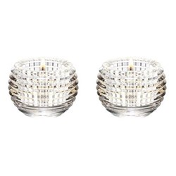 Eye Pair of votives, H7 x D9.5cm, clear
