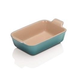 Stoneware Rectangular dish, 19 x 14cm - 1 litre, teal