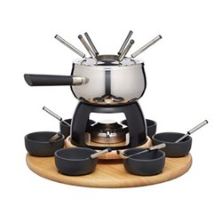 Party fondue set, 31 x 38cm, stainless steel and black glaze