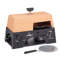 Mini pizza oven, 28 x 15.5 x 22cm, terracotta roof with black metal base