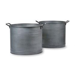 Set of 2 galvanised log buckets, 35 x 39cm, 35 x 41cm