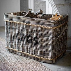 Log basket with rope, 52 x 44 x 78cm