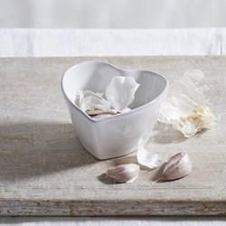 Porto Heart ramekin, 6 x 10 x 11cm, white with grey trim