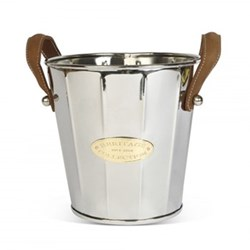 Heritage Wine cooler with leather handle, 22 x 23cm, stainless steel, brass and leather