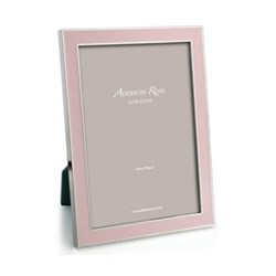 "Enamel Range Photograph frame, 5 x 7"" with 15mm border, light pink with silver plate"
