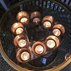 Heart Votive tray with glass candle holders - small, 4.5 x 23.5 x 24cm, stainless steel and glass