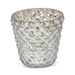 Bubble Votive - small, 6 x 6cm, silver glass