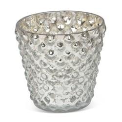 Bubble Votive - large, 10 x 9cm, silver glass