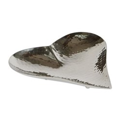 Champagne Hammered Heart dish - small, 3.5 x 20 x 20.5cm, stainless steel