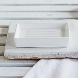 Newcombe Soap dish, L12.5 x W8cm, white ceramic