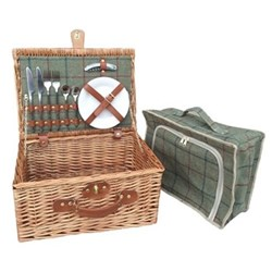 Green Tweed Picnic hamper - 2 person, 41 x 30 x 19cm, light willow