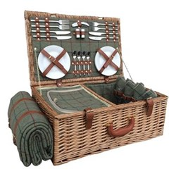 Green Tweed Picnic hamper - 4 person, 58 x 38 x 22cm, light willow